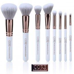 Hvid rose guld 8 sæt professionelle makeupbørster - makeupbørster i højeste kvalitet