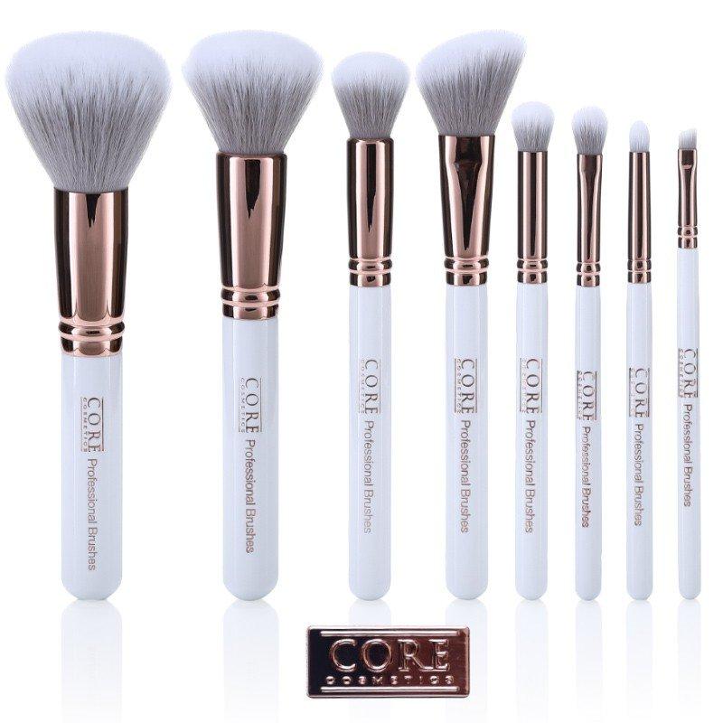 Vita Rose Guld 8 Set Professionella Sminkborstar - makeupborstar i högsta kvalité