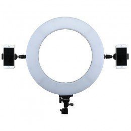 Ring light with 2 telephones mounted on each side of the lamp.